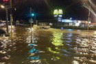 Flooding on the corner of Gladstone St and Queen St, Richmond, Nelson (Photo: David Greer / Weatherwatch.co.nz)